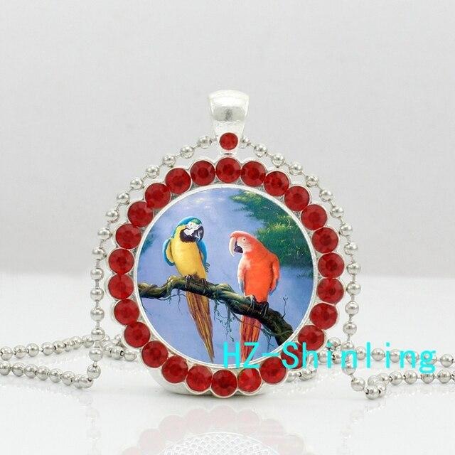 Nouveau perroquet beau collier en cristal Couple perroquets pendentif oiseau bijoux roman cristal pendentif collier HZ6