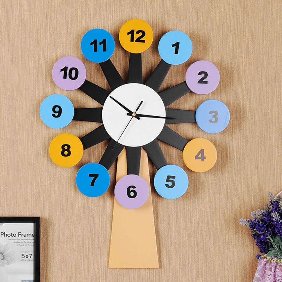 55cm Big Size Kid Room Wall Clock Digital Wooden Wall Clock Decorative Boy  Or Girl Room Cartoon Hanging Watch Clock