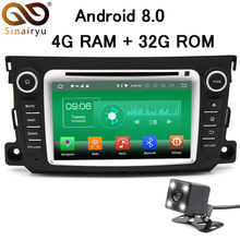 Sinairyu Head Unit 1024×600 Octa Core 4GB RAM Android 8.0 Car DVD Player GPS For Mercedes/Benz Smart Fortwo 2011 2012 2013 2014
