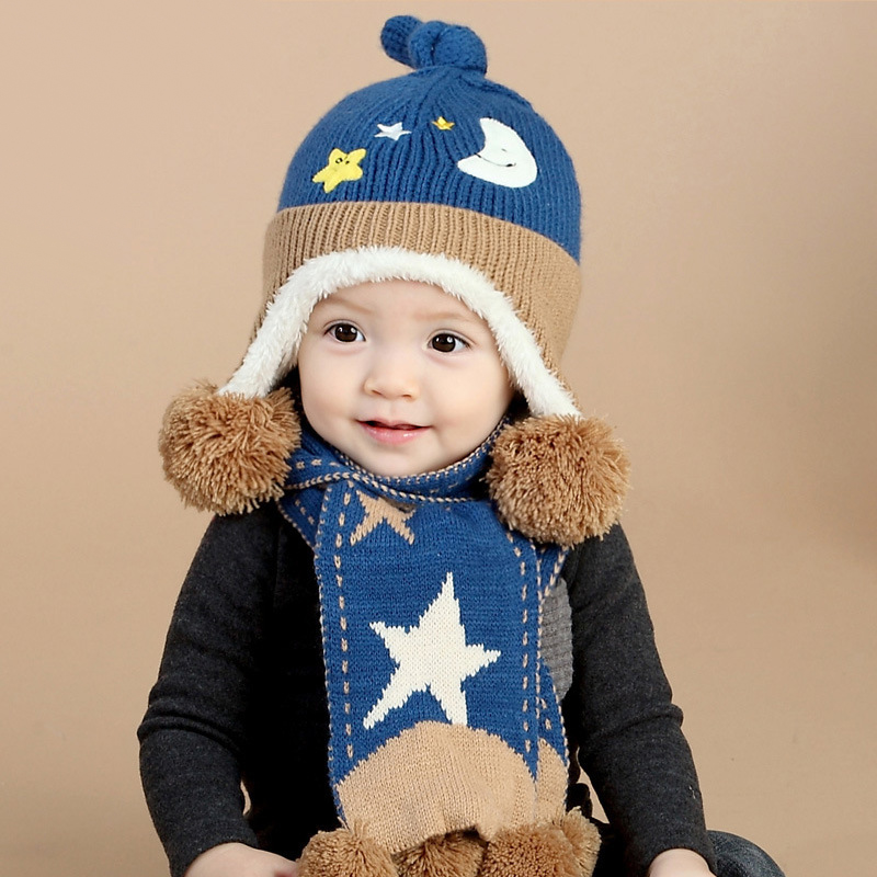 New Child Winter Acrylic Hats & Scarf Baby Cartoon Moon And Stars Knitted Cap Keep Warm scarves for Boy Girl 2pcs/set 2017 new cute acrylic kid hats of unisex character pattern caps for children spring knitted warm cap with horn 170424 x124