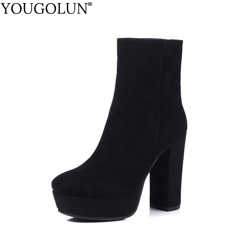 YOUGOLUN Women Ankle Boots Spring Autumn Genuine Nubuck Leather Black Thick Heel 12cm High Heels Platform Round toe Shoes #Z-065 egonery quality pointed toe ankle thick high heels womens boots spring autumn suede nubuck zipper ladies shoes plus size