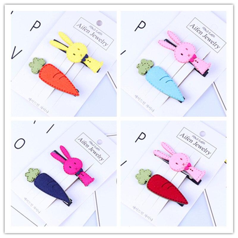 2PCS Cute cartoon carrot hairpin children girl hair accessories headdress clip Korea Hairpinaccessories