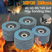 Discos de aba profissional 125mm, discos de lixa de 5 Polegada para moagem de grão em lâminas 40/60/80/120 com 10 peças para moedor de ângulo