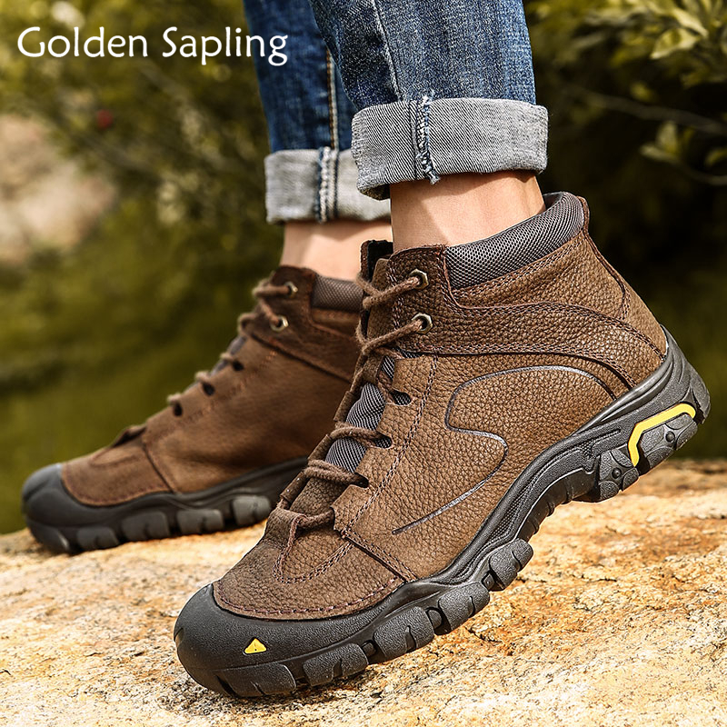 Golden Sapling Winter Boots Fur Men Outdoor Sneakers Breathable Hiking Shoes Man Tactical Boots Leather Mountain Trekking Shoes цена