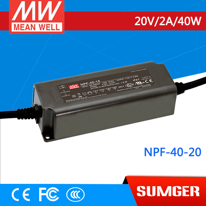 1MEAN WELL original NPF-40-20 20V 2A meanwell NPF-40 20V 40W Single Output LED Switching Power Supply 20v 1 2a power module 220v to 20v acdc direct switching power supply isolation can be customized