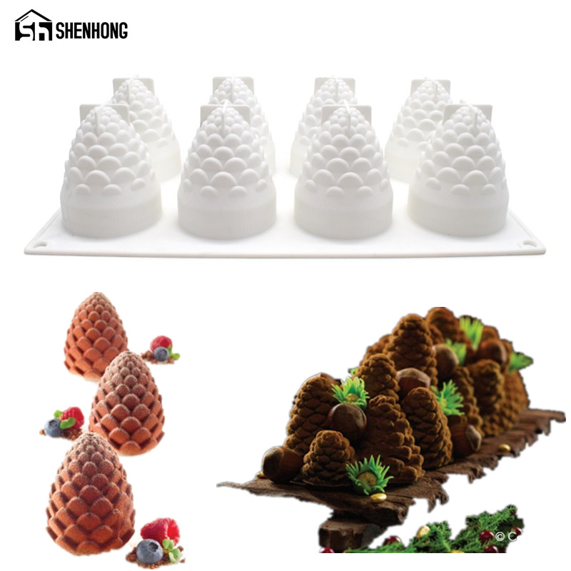 SHENHONG Pine Nuts 3D Cake Mousse Mould Pop Silicone Silikonowe Formy Mould Art Moule Brownie Bagværk Pastry Tools Muffin