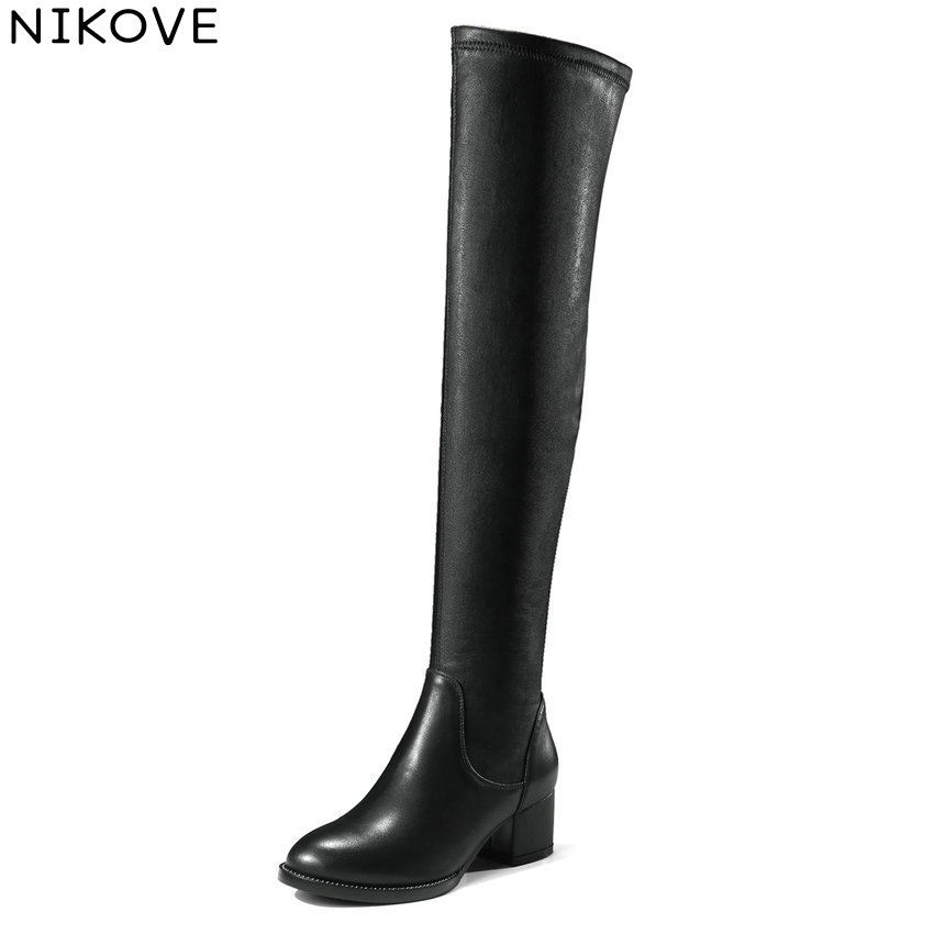 NIKOVE 2018 Winter Snow Women Boots Over The Knee Boots Genuine Leather+PU Ladies Square High Heels Fashion Boots Size 34-39 nikove 2018 women boots western style high heel over the knee boots round toe spring and autumn fashion ladies boots size 34 39