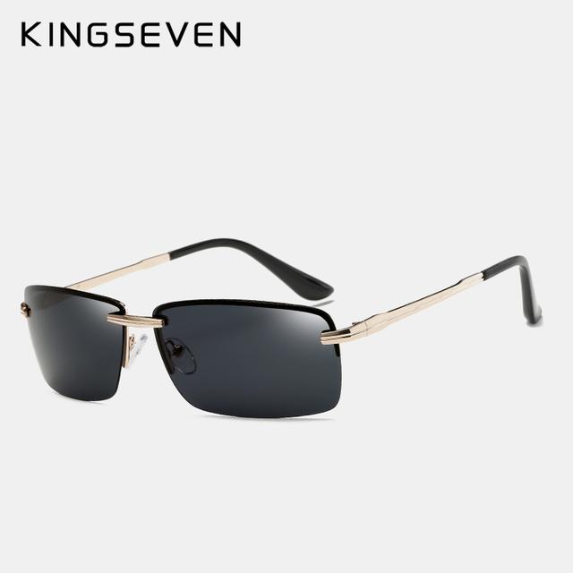 KINGSEVEN Rimless Sunglasses Men Polarized Gold Men's Shades Sun Glasses Luxury brands Night Driving Glasses Oculos escuro