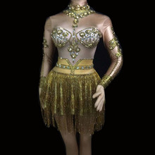 все цены на Sexy Rhinestone Dress Event Party Fringe Dresses Sparkling Gold Tassel Performance Costumes Dance Stage Outfits Singer Costumes онлайн