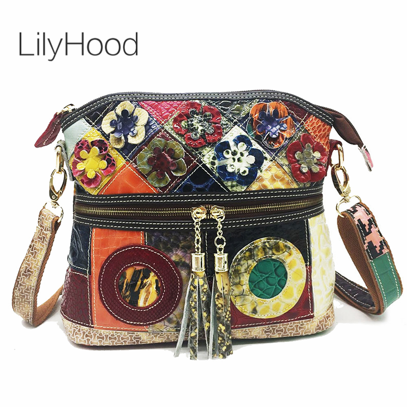 Cow Leather Flap Shoulder Bag 2019 Fashion Bohemian Boho Chic Quality Real Leather Flap Messenger Bag Leisure Srteet Style Bag