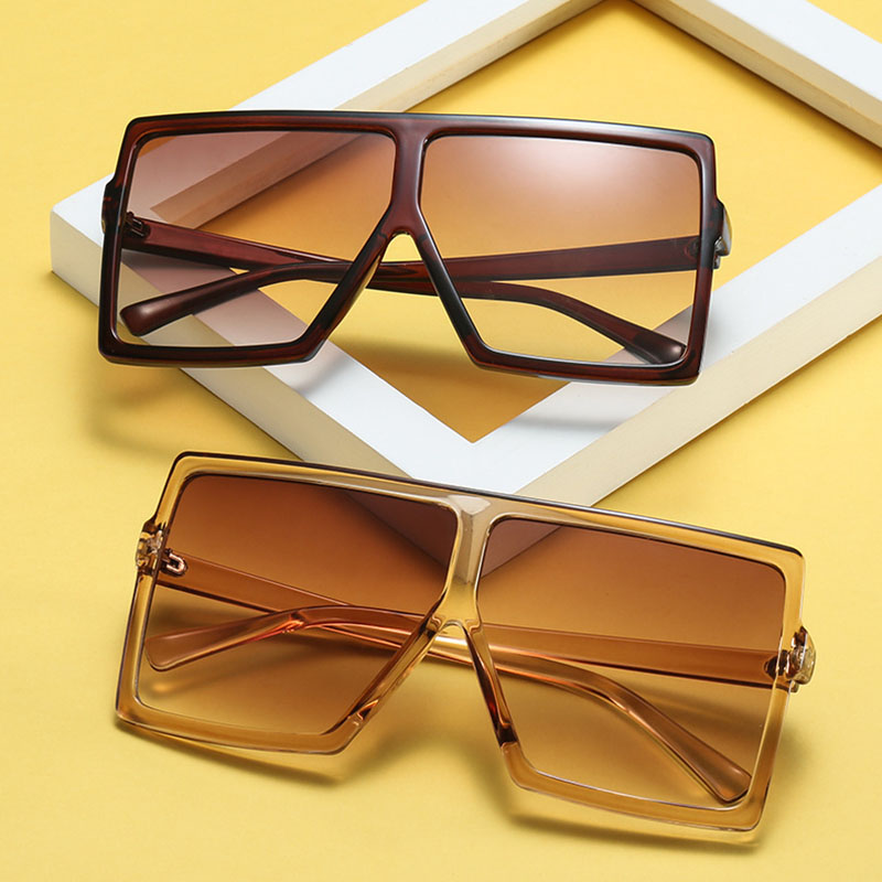 Oversized Sunglasses Oculos Shades Square Big-Frame Gradient Vintage Women Fashion Brand Designer