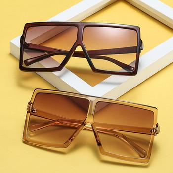 Duże oprawki odcienie gradientowe ponadgabarytowe okulary kwadratowe marka projektant Vintage kobiety modne okulary słoneczne Oculos De Sol UV400 tanie i dobre opinie zyomy Z tworzywa sztucznego Plac Antyrefleksyjną Lustro Fotochromowe Dla dorosłych F500049 Poliwęglan 68mm 64mm 200002146