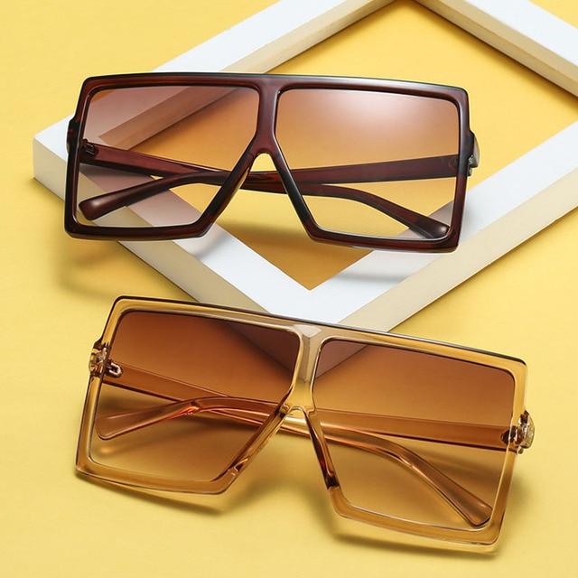 Grande Gradiente Quadro Shades Oversized Sunglasses Praça Designer de Marca Mulheres Moda Óculos de Sol Do Vintage Oculos de sol UV400