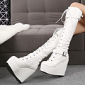 Fashion ultra high heels over-the-knee 25pt 14cm high-leg lacing winter boots platform wedges tall boots women's shoes