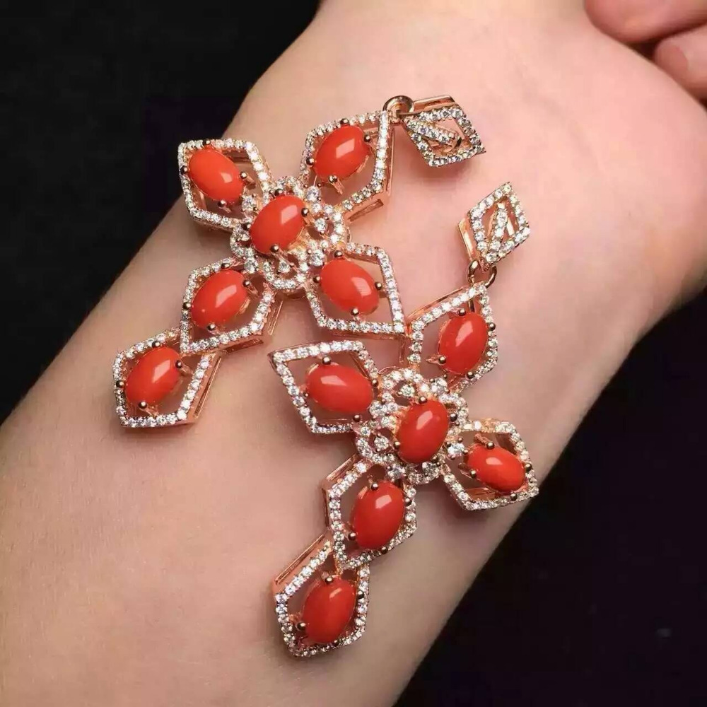 Natural red coral pendant S925 silver Natural gemstone Pendant Necklace trendy Elegant Luxury big cross women girl party jewelry