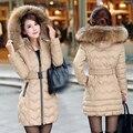 NXH desgaste amassado jaqueta feminina 2016 outono e inverno de Neve mulheres jaqueta fino outerwear Algodão Longo casaco de inverno mulheres mais tamanho