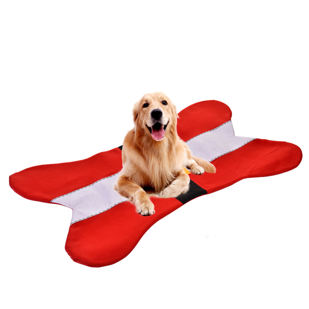 Christmas pet bones mat, suitable for small and medium sized cat, dog, comfortable and durable, red festive about 90cm*50cm