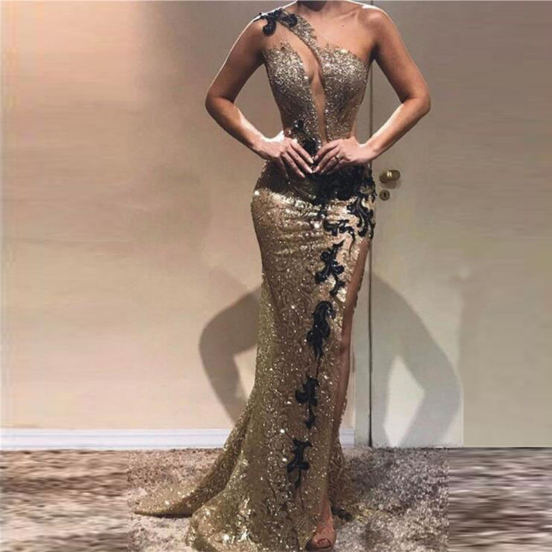 Shiny Evening Formal Dresses One Shoulder Sequins Mermaid Evening Gowns With Black Applique Long Robe De Soiree Sexy Party Dress