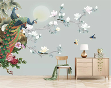 beibehang Customized eco-friendly personality wall paper Magnolia hand-painted flower birds new Chinese background 3d wallpaper