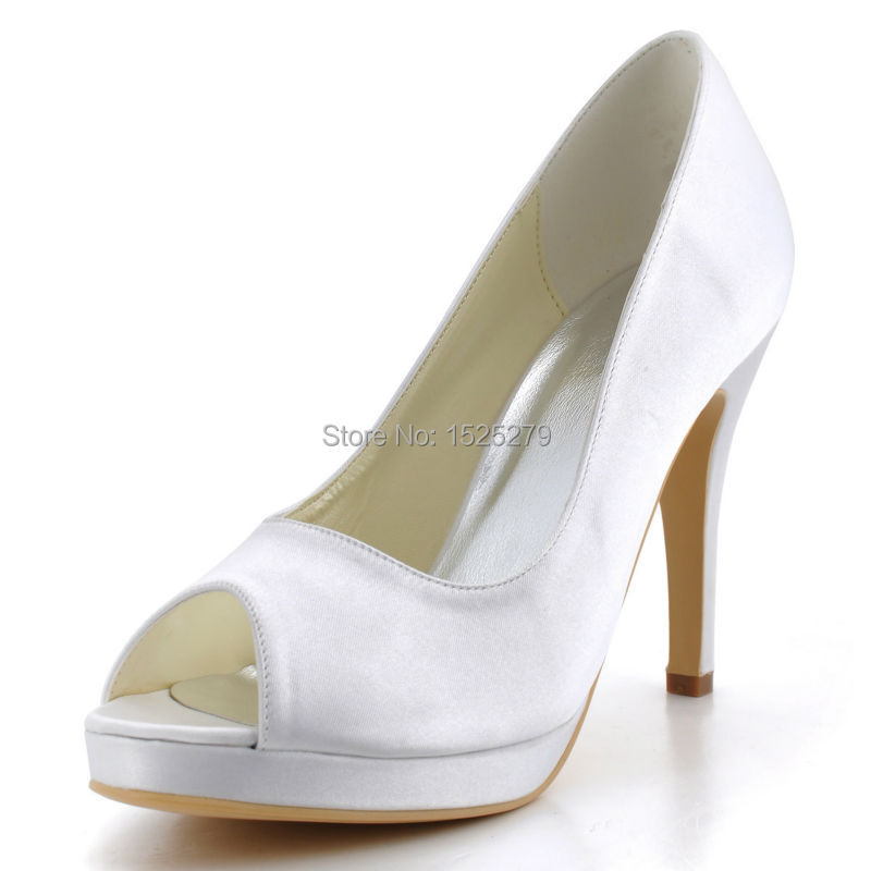 EP2098-PF  Elegant White Peep Toe Stiletto Heel Platform Satin Wedding Bridal Pumps