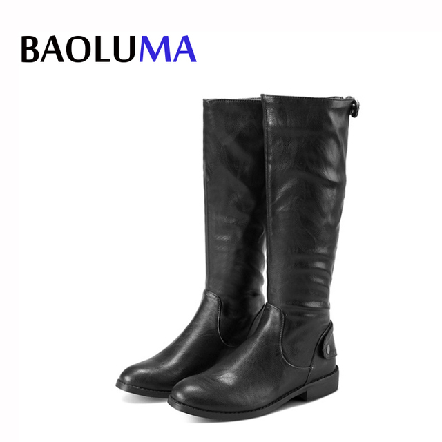 9f0b569bfa8 US $28.47 30% OFF|Fashion New Women Boots Back Zipper Black Brown Low Heel  Knee Boots Autumn Winter Ladies Snow Boots Women Leather Shoes-in Knee-High  ...