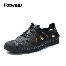 Fotwear Men sandals casual shoes Hiking outdoor leather Overlays cutouts Toe guards protect feet comfort and fit