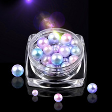 Cute Magic Mermaid Nail Art Pearl Decoration 3mm 4mm 5mm 6mm Round Ball Gradient Symphony Colorful Charm Jewelry Beads
