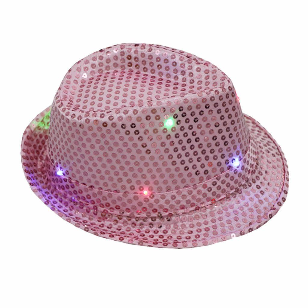 Tapas para luz intermitente Led de coloridas lentejuelas Unisex elegante vestido de fiesta de baile sombrero gorro hombre verano