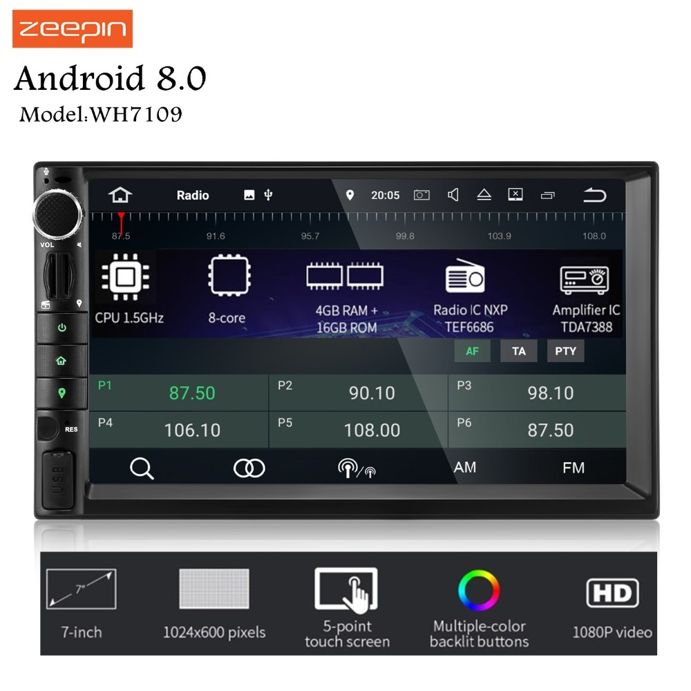 ZEEPIN WH7109 2Din Android Автомагнитола 7-дюймовый 8 Core 1024X600 Центральный Multimidia Поддержка OBD Wi-Fi для Универсальный peugeot 407