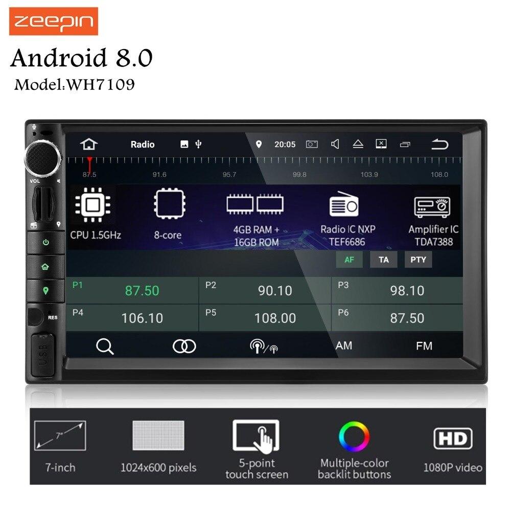 ZEEPIN WH7109 2Din Android Auto Unità di Testa 7-Pollici 8 Core 1024X600 Centrale Multimediale di Supporto OBD Wifi per Universale Peugeot 407