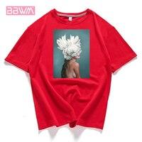 95% Хлопковая женская футболка с цветочным принтом и перьями, 2019 летняя футболка с коротким рукавом и круглым вырезом, футболка с принтом Хар...