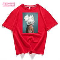 95% algodão flor flor pena feminina t-shirt 2019 verão manga curta em torno do pescoço harajuku impressão t casual moda feminina