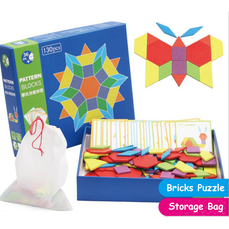 Geometric Shape DIY Puzzle Wooden Bricks Creative Puzzle Toy Box Kits Educational Toys Birthday Gifts
