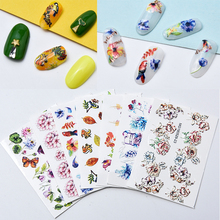 3D Acrylic Engraved flower Nail Sticker butterfly Water Decals Empaistic Slide Z0136
