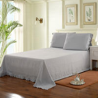 100 LINEN Washed Sheet Set With Flouncing 1 Sheet Set 1 Flat Sheet 2 Pillowcases