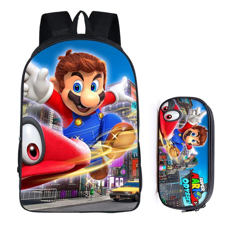 16 Zoll Super Mario Bros Sonic The Hedgehog Schule Tasche Für Kinder Jungen Rucksack Kinder Schule Sets Bleistift Tasche Mochila Infantil HüBsch Und Bunt