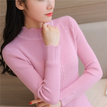 The new winter sweater in a long sleeved Korean Short semi Turtleneck Shirt slim thickening