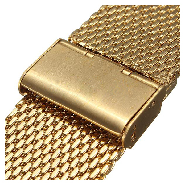 YCYS New 24mm Watch Strap Shark Mesh Band Stainless Double Clasp Steel Bracelet Gold