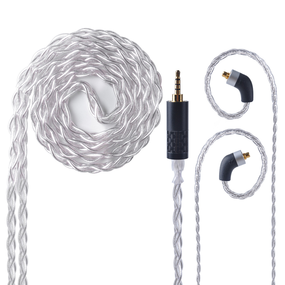 UPOCC 28AW 7N Single Crystal Copper Silver Plated Cable 2.5/3.5/4.4mm Balanced Cable With MMCX Connector For HQ6 HQ8