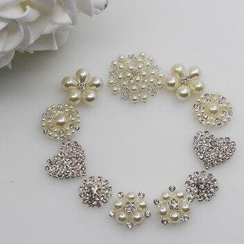 Moda 11pc mezcla de tamaño perla rhinestone combinación botón Flatback crystal broche invitación nupcial Ramos decorar