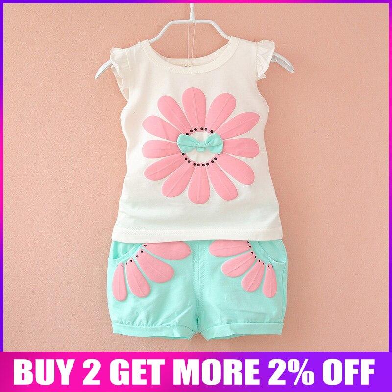 32c0b4ce4 BibiCola de moda bebé niño Niñas Ropa de verano establece arco de chicas  ropa de verano conjunto niños casual traje de deporte conjunto