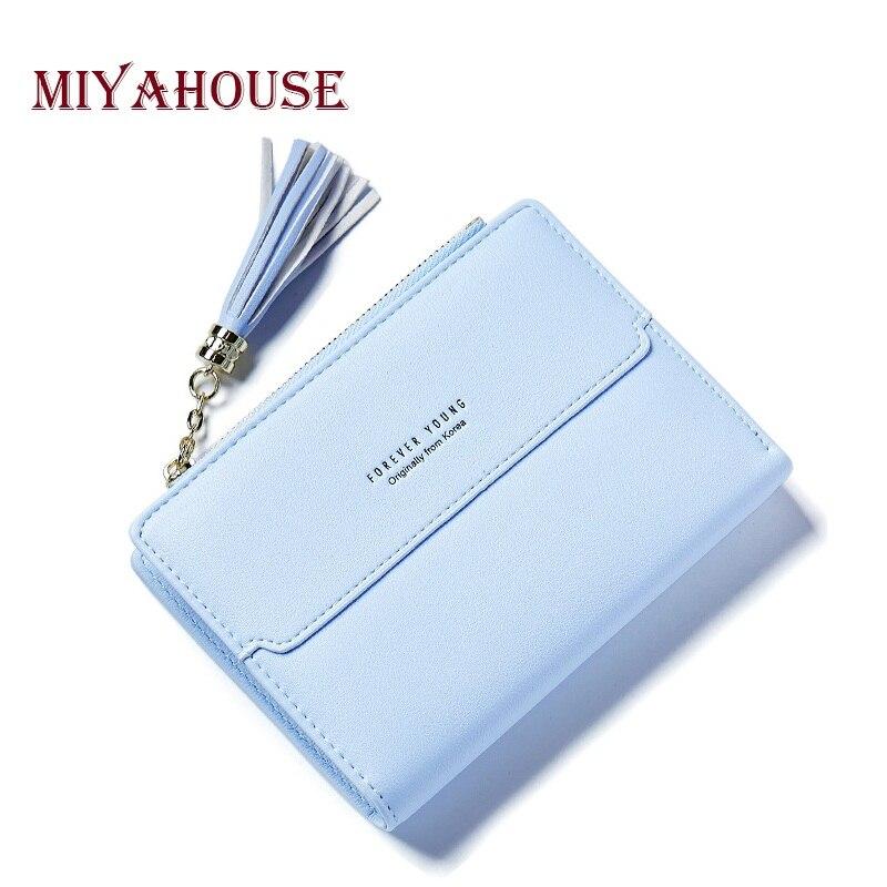 Miyahouse Tassel Zipper Medium Wallet Women Short Money Wallets PU Leather Female Purse Card Holder Ladies Coin Purses