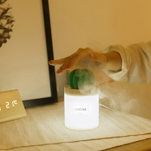 USB Cactus Air Humidifier With Night Light Timing Aromatherapy Diffuser Mist Maker Fogger Mini Aroma Atomizer 280ml For Home Car