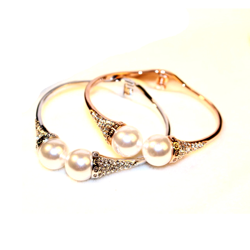 77922001b7b Rose Gold Color Acrylic Pearl Cuff Bracelets With Rhinestones New Style  Womens Bracelet Jewelry Fashion 2016/Pulsera Mujer Moda-in Bangles from  Jewelry ...