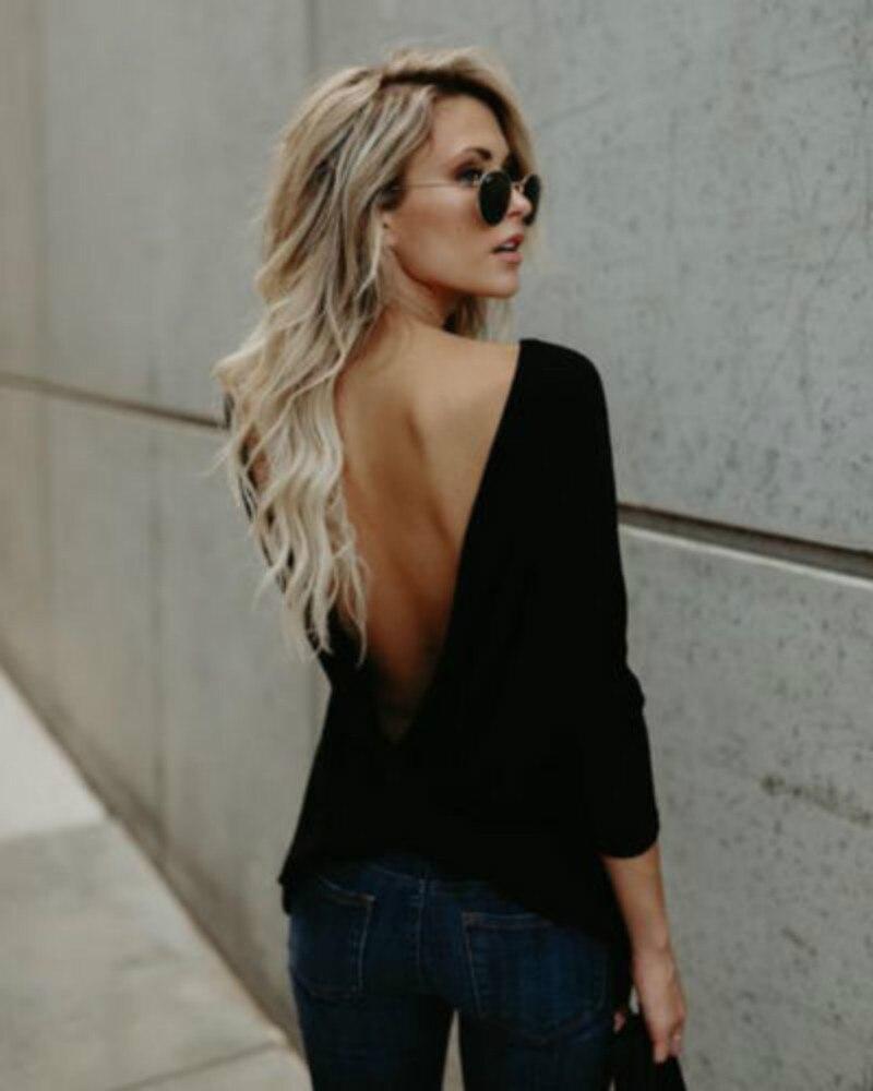 Mujeres atractivas de la manera V abierto backless Tops manga larga volver atado camiseta floja camisa casual nuevo