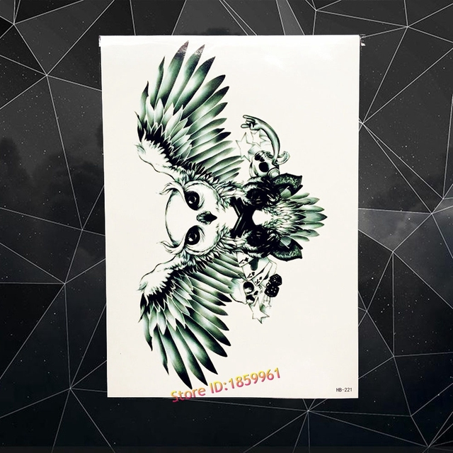 Dark Black Wings Waterproof Temporary Tattoo Women Body Art Back Tattoo Sleeve Neck 21x15CM Metallic Flash Tattoo Owl Eagle Hawk