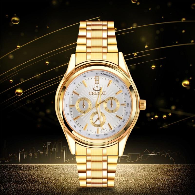 CHENXI Full Gold Watch Mens Watches reloj hombre marca de lujo Top Brand Luxury Waterproof Quartz-watch Stainless Steel 4750 dom women luxury brand watches waterproof style quartz ceramic nurse watch reloj hombre marca de lujo t 558