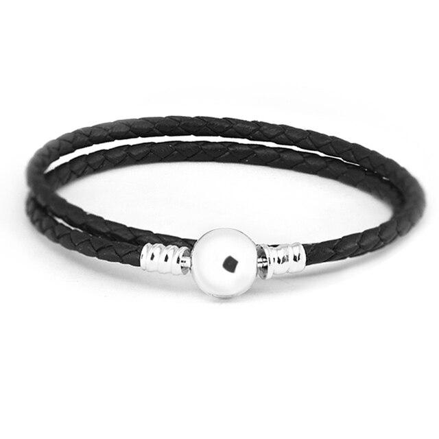 a94643314e2f De-de plata-joyería ronda broche negro de cuero pulseras brazaletes mujer  encantos pulseras