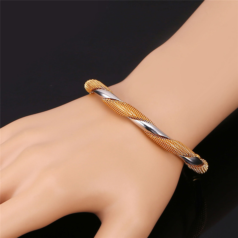 Kpop Two Tone Cuff Bangles Special Design Wholesale New Gold Color ...