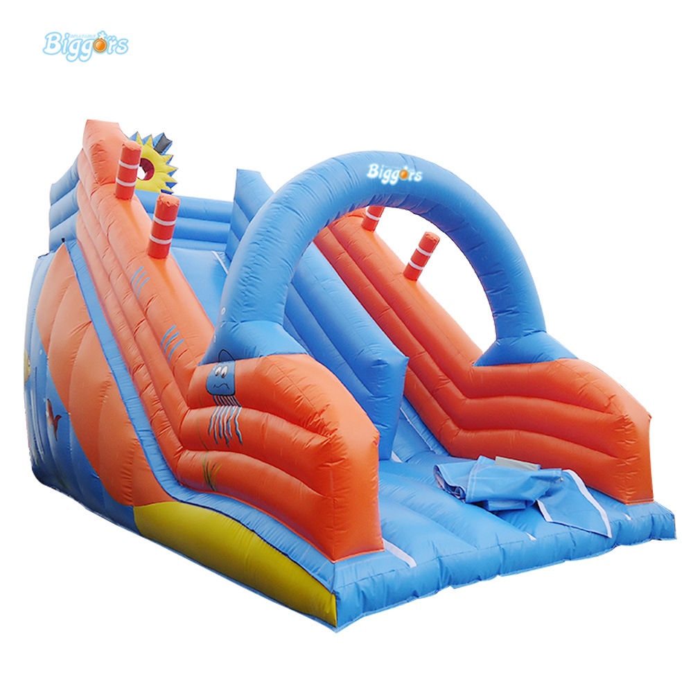 Supper Funny Inflatable Castle Slide With Climbing Wall commercial sea inflatable blue water slide with pool and arch for kids